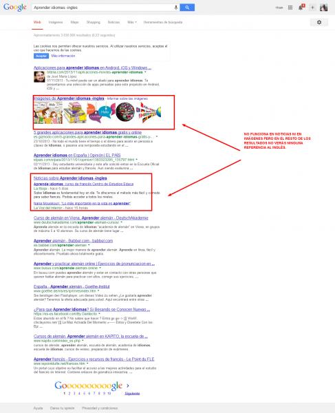 Buscando dos terminos alternativos en Google
