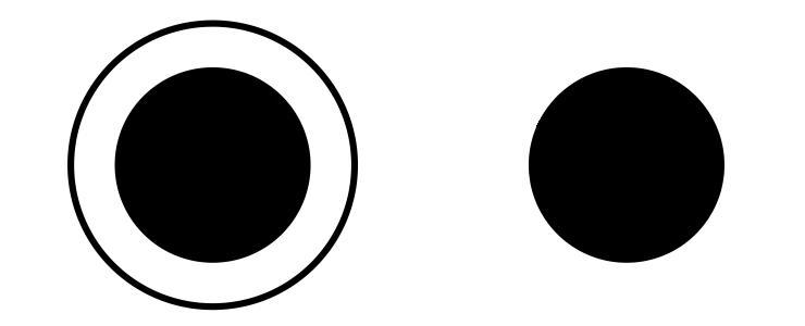 El círculo negro de la izquierda parece mayor aunque es igual que el de la derecha