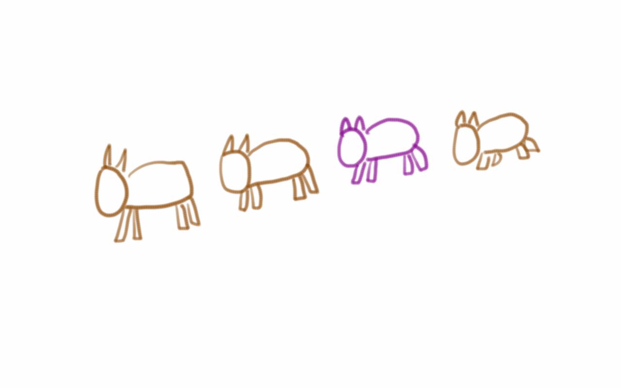 La vaca púrpura destaca entre las marrones