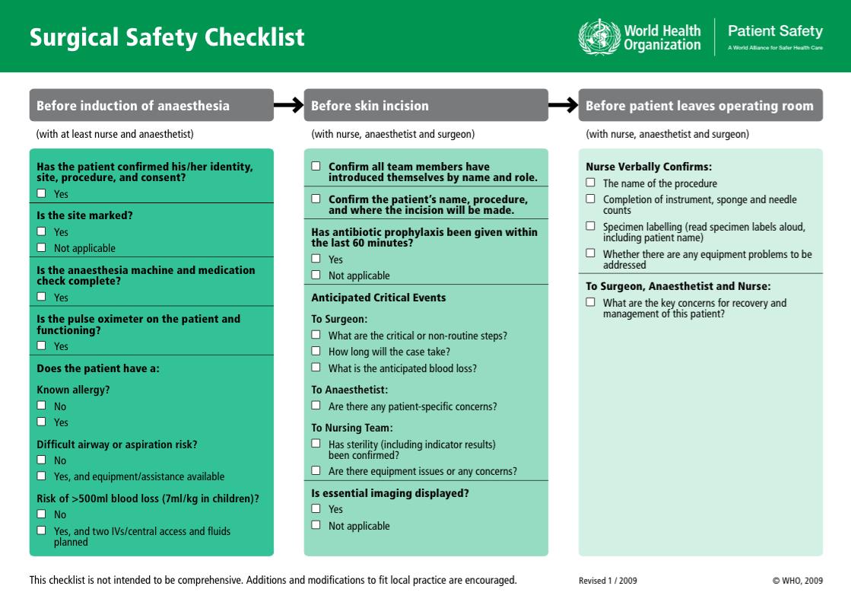 checklist para seguridad en las operaciones de la OMS
