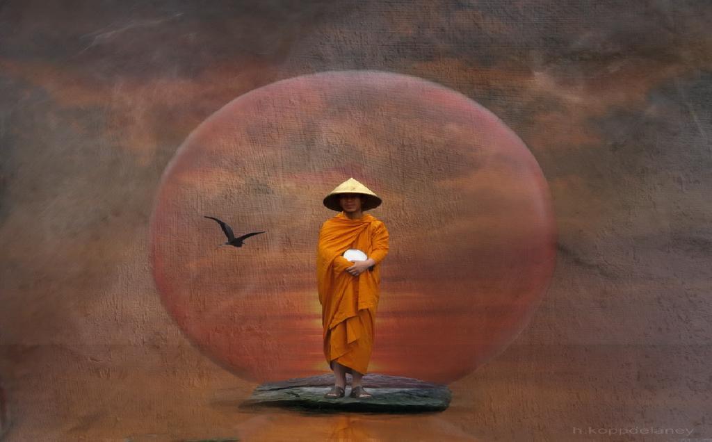 monje en esfera