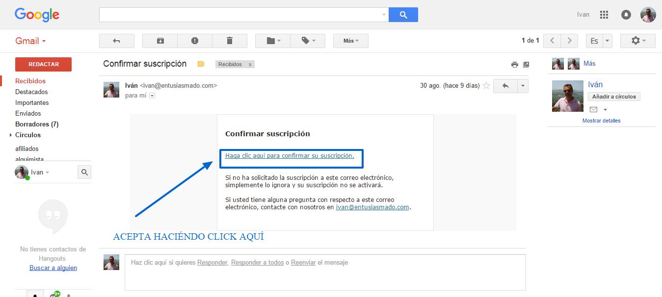 Confirmar suscripción entusiasmadocom gmail.com Gmail